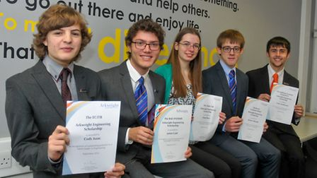 Clevedon School, students with thier Arkwright scholarships awards.