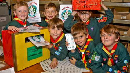 1st Clevedon scouts this years Christmas postal stamps service.
