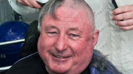 Steve Brett head shaved in memory of his wife Vickie.