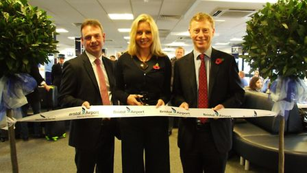 Carol Vorderman was joined by Bristol Airport chief executive Robert Sinclair and bmi regional chief