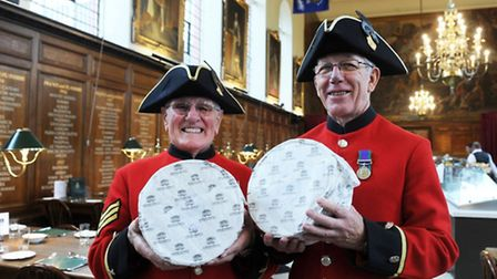 In-Pensioners Derek Walters BEM and David Jordon with donated cheese