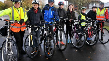 Mark Charlesworth and Shena Deuchars teaching the young peopleBackwell Bikeability. Cycling sessions