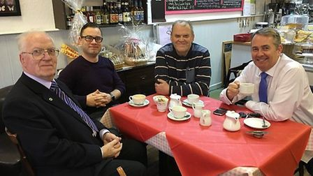 Liam Fox enjoyed a drink at Butterflies in Clevedon.