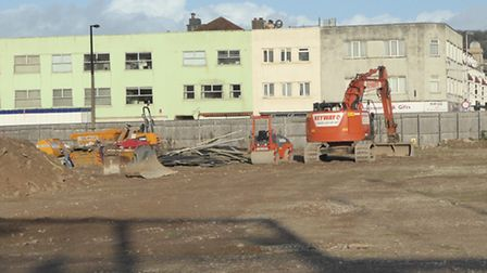 Diggers have moved onto the Dolphin Square site in Carlton Street. Photo by Peter Barrington.