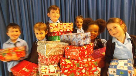 St Francis Primary School shoeboxes.