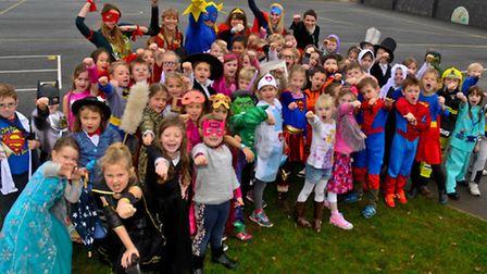 Trinity Primary School, Portishead WOW day dressing up as superheroes.