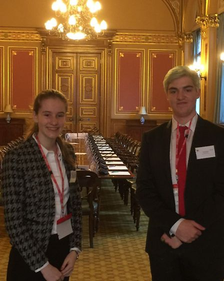 Alice Vaughan Williams and Louis Lovelace taking part in an mock EU council event.