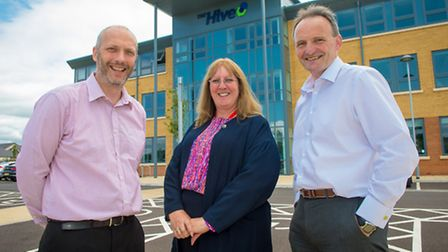 Rob Hicks, centre manager at The Hive, with Janice Saunders and Paul Kelson of Echo Engage in front
