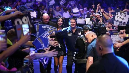 Gary Anderson makes his way to the Oche during the PDC World Darts Championships. PRESS ASSOCIATION