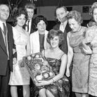 Star manageress Miss Beryl Bundock with the basket of fruit which was a prize at Marks and Spencer's