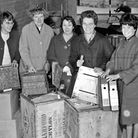 Susan Reed, Marjorie Wood, Audrey Evans, Ruth Davies and Sandra Ferguson give a hand with the files.