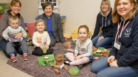 Children with Julie McCallum, Rev Emma Amyes, Julie Ross and Louisa Gregory.