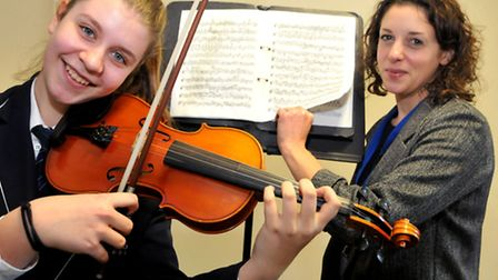 Gordano School. Inga Szmigiel taking part in the North Somerset music service competition, pic'd wit
