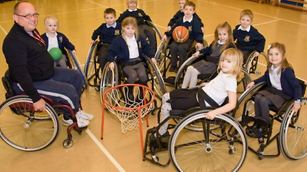 Wheelchair basketball at Mary Elton Primary School.