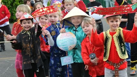 Wraxall School Yrs1 and 2 celebrate the Chinese New Year. Photo by Jeremy Long.