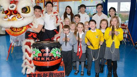 Pupils of the school with the University of Bristol Chinese Lion Dance Troupe