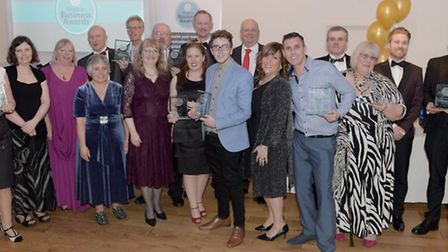 All of the winners of the Weston Business Awards with John Penrose MP and Nigel Dando