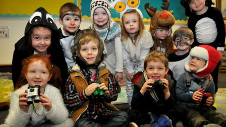 Reception pupils at Trinity Primary School's WOW day. Photo by Jeremy Long.