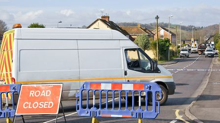 Clevedon Road closed by police.