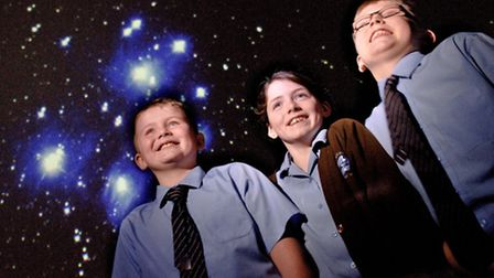 St Francis Primary School pupils inside the Space Oddessey dome.