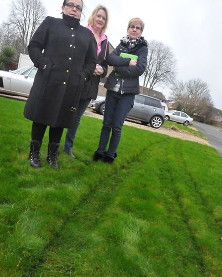 Coombe Rd residents in Nailsea Julie Brunston, Ruth Eager and Pat Gregory after a bus driver drove