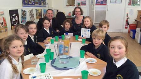 North Somerset MP Liam Fox visited pupils at Wrington Primary School.