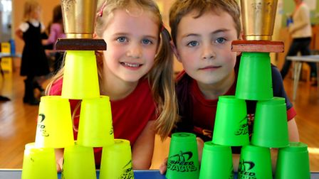 Manon and Ryan winners of the speed stacking competition at Crokerne Primary School. Photo by Jeremy