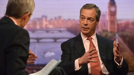 Nigel Farage appears... on the BBC. Photograph: Jeff Overs/BBC.