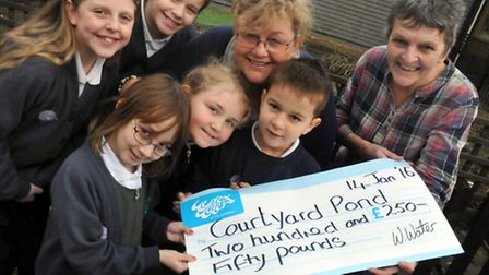 Kingshill Church School, Nailsea. Presentation of £250 Wessex Watermark Award to repair pond by Sue