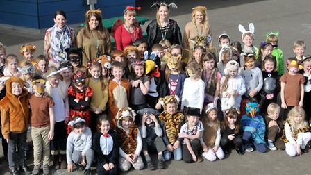 Year 2 pupils in their costumes