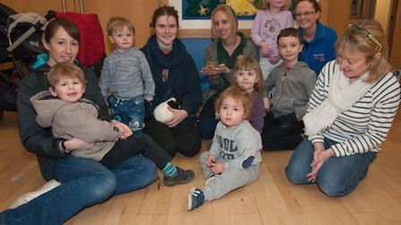 Children and parents from Yatton Moor Children's Centre with the animals from Noah's Ark Zoo Farm