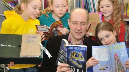 Backwell Junior School opening its new library. Author Christian Dark visited and children did illus