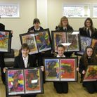 Westhaven School pupils with their artwork.
