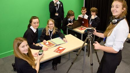 Nailsea School pupils in the studio, taking part in the BBC news report day.