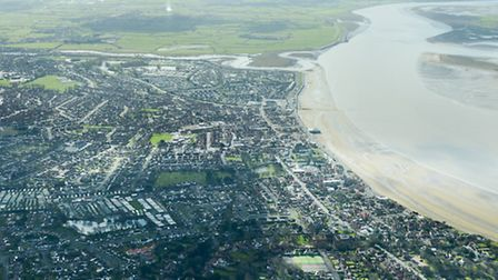 The plane flew directly over Burnham-on-Sea, as seen here.
