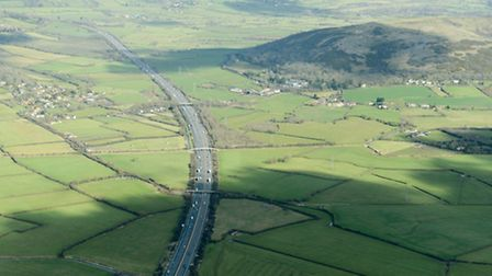 One of the region's busiest roads - the M5 motorway - looked oddly quiet here alongside Crook's Peak