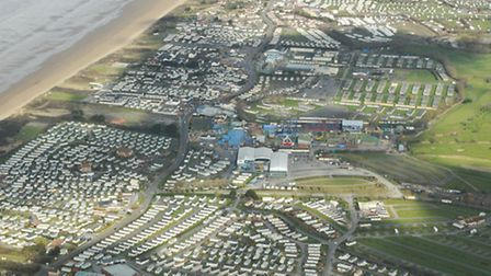 This photo shows the neatly lined-up caravans of Brean Leisure Park.