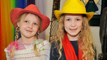 Year 1s Jessica and Sienna in their Paddington inspired costumes.