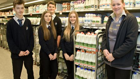 GCSE students from Nailsea School visiting Waitrose store to learn about dairy products.