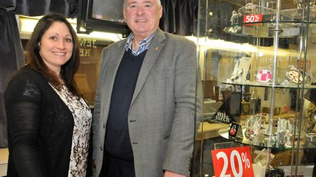Owners Paul Knowles and Janet Currell inside the jewellers, which is due to be closed down.