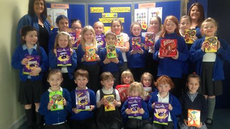 St Nicholas Chantry Primary School pupils with their Easter eggs.