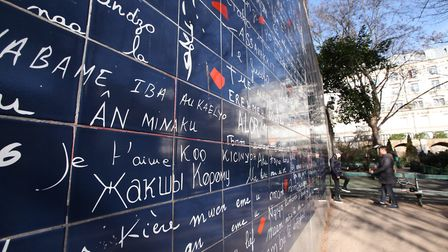 Abbesses Square in Paris, ' I love you ' in 250 languages, work of Fréderic Barton and Claire Kito.