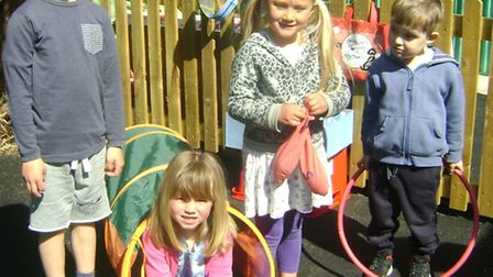 The children's efforts will help pay for new outdoor games.