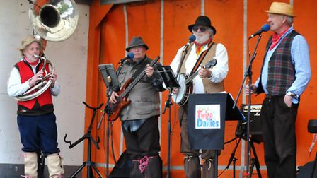 Wurzels tribute band The Twice Dailies performing at the Nailsea May Fair.