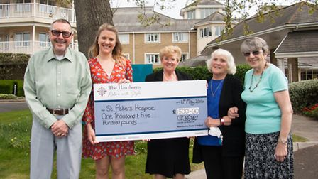 Resident John Webber with St Peters Hospices Louisa James, Goldie Tripney and residents Marion Nicho