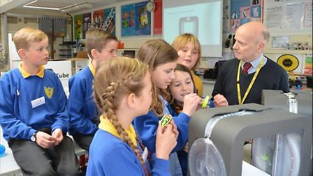 Pupils with David White from Clevedon School.