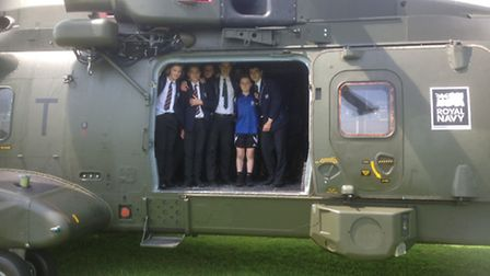 Gordano School pupils got to explore a helicopter.