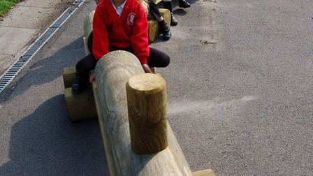 New wooden train for reception pupils at the Federation of Hannah More and Grove schools in Nailsea.