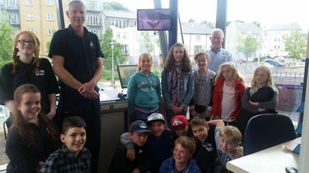Simon Cant and Keith Berry with members of the youth centre holiday play scheme at Portishead Quays