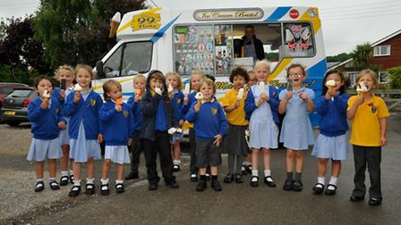 Reception pupils with their ice creams